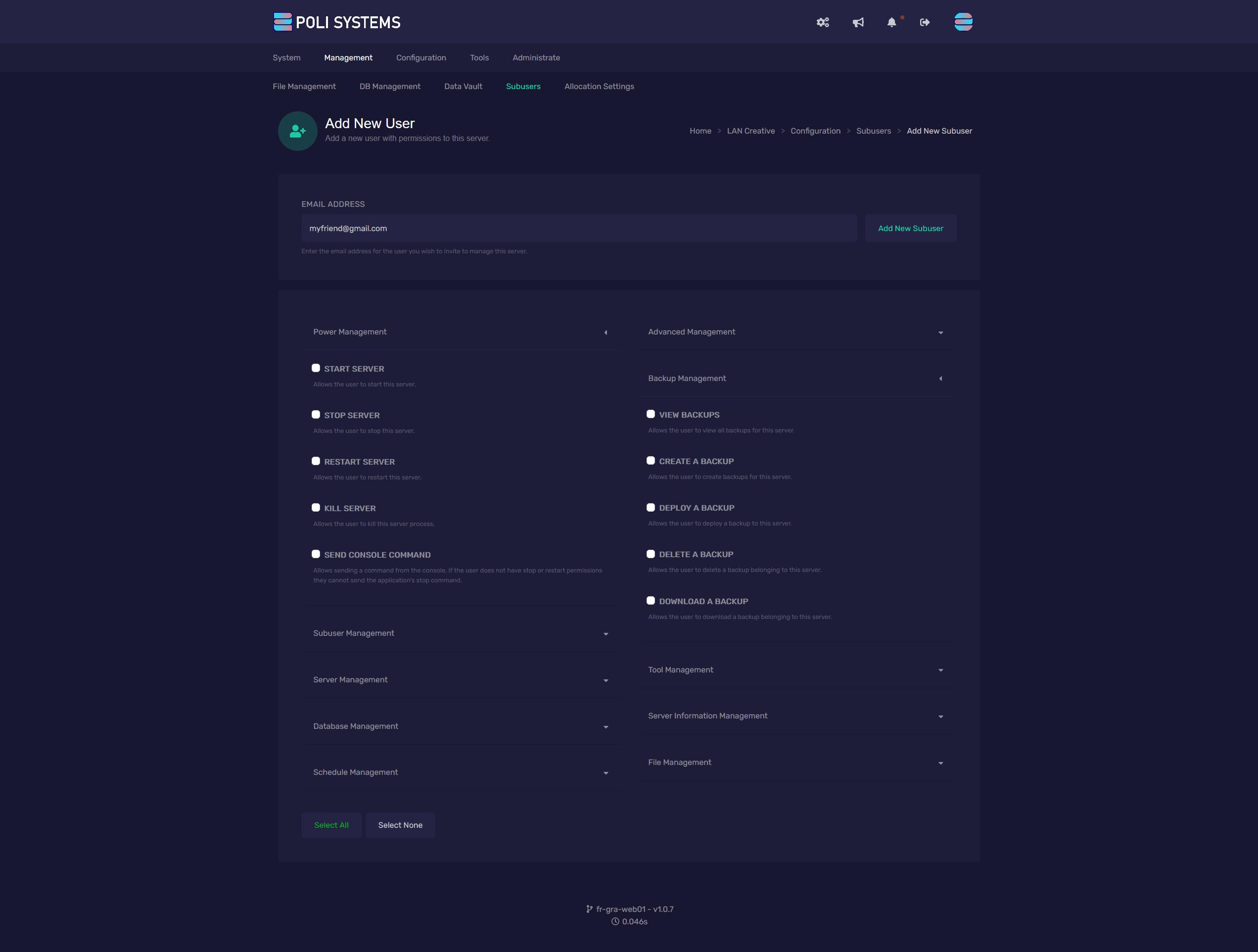Ajouter un nouveau sous-utilisateur