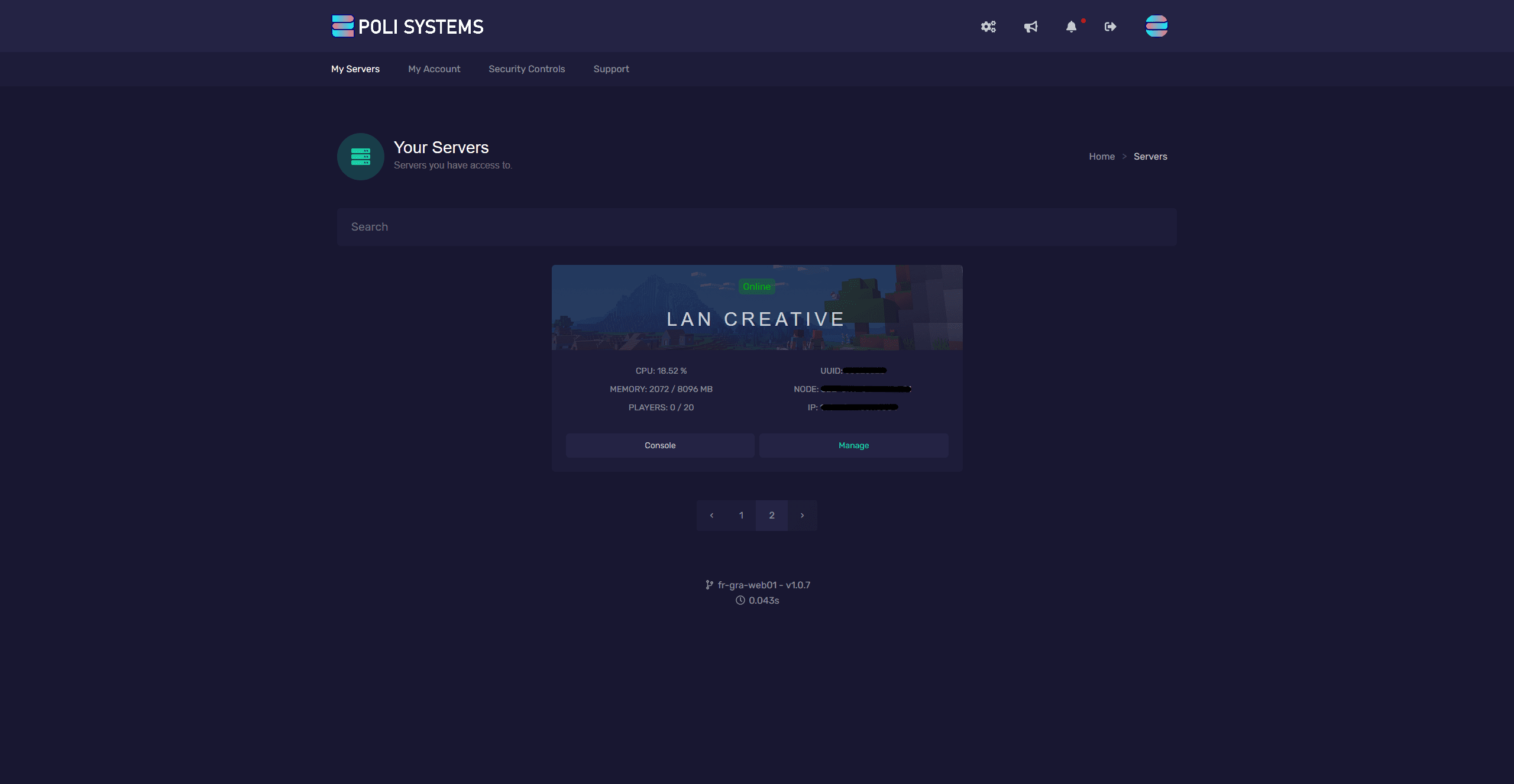 Main welcome screen where you can manage multiple servers